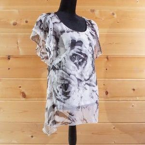 One World Semi Sheer Short Sleeve Pullover Blouse
